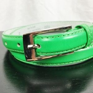 """Accessories - Green Leather Belt 3/4"""" x 36"""" Silver Tone Buckle"""